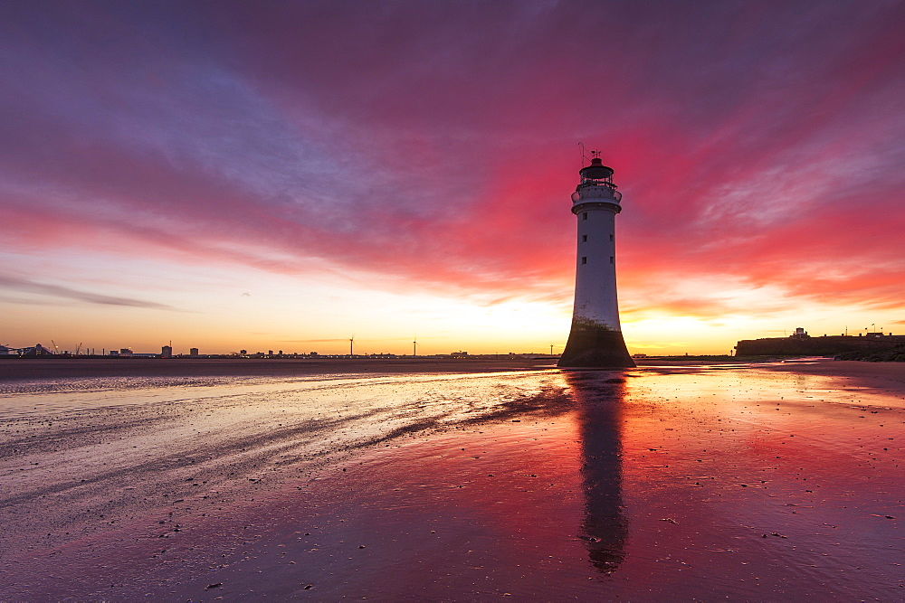 Incredible sunrise at Perch Rock Lighthouse, New Brighton, Merseyside, The Wirral, England, United Kingdom, Europe