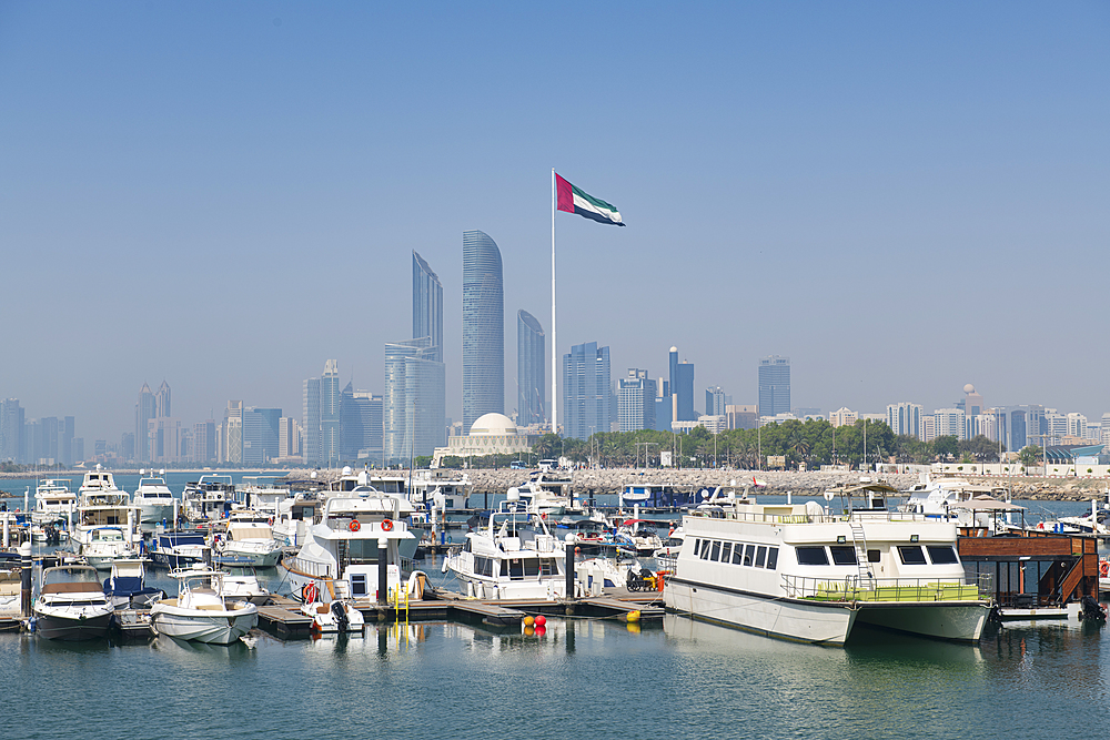 City skyline and Marina, Abu Dhabi, United Arab Emirates, Middle East