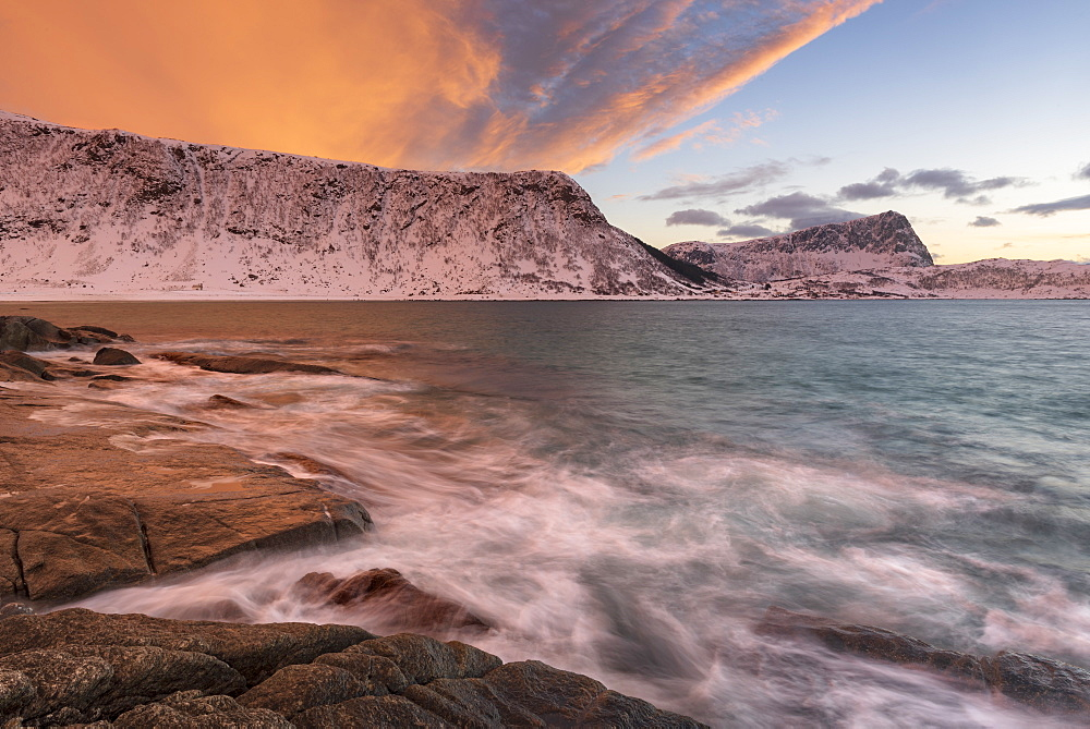Dramatic sunset at Haukland Beach, Lofoten, Nordland, Arctic, Norway, Europe