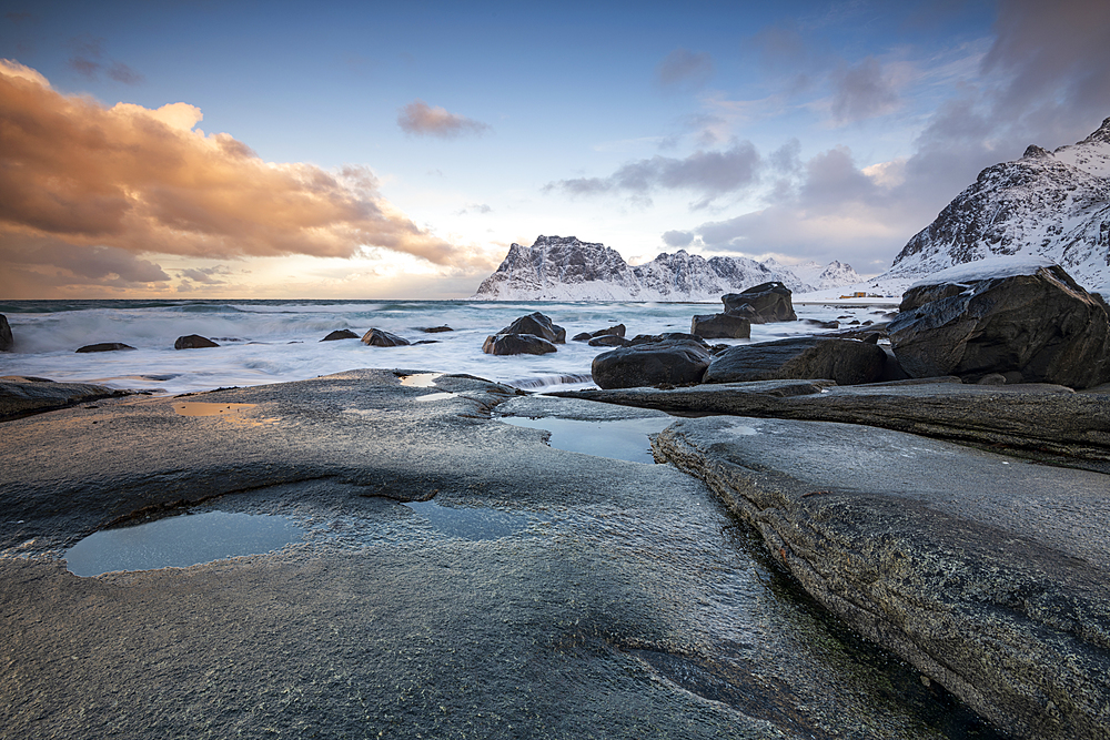 Rock formations at Uttakleiv Beach, Vestvagoy, Lofoten Islands, Nordland, Arctic, Norway, Europe