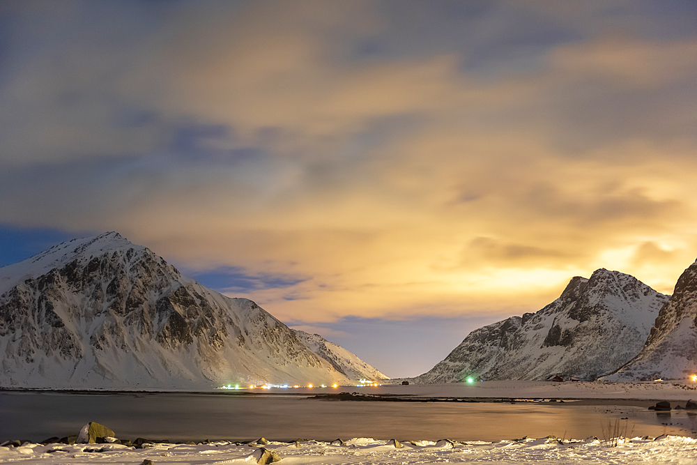 The night sky with mountain range in winter, Reine, Lofoten Islands, Nordland, Arctic, Norway, Europe