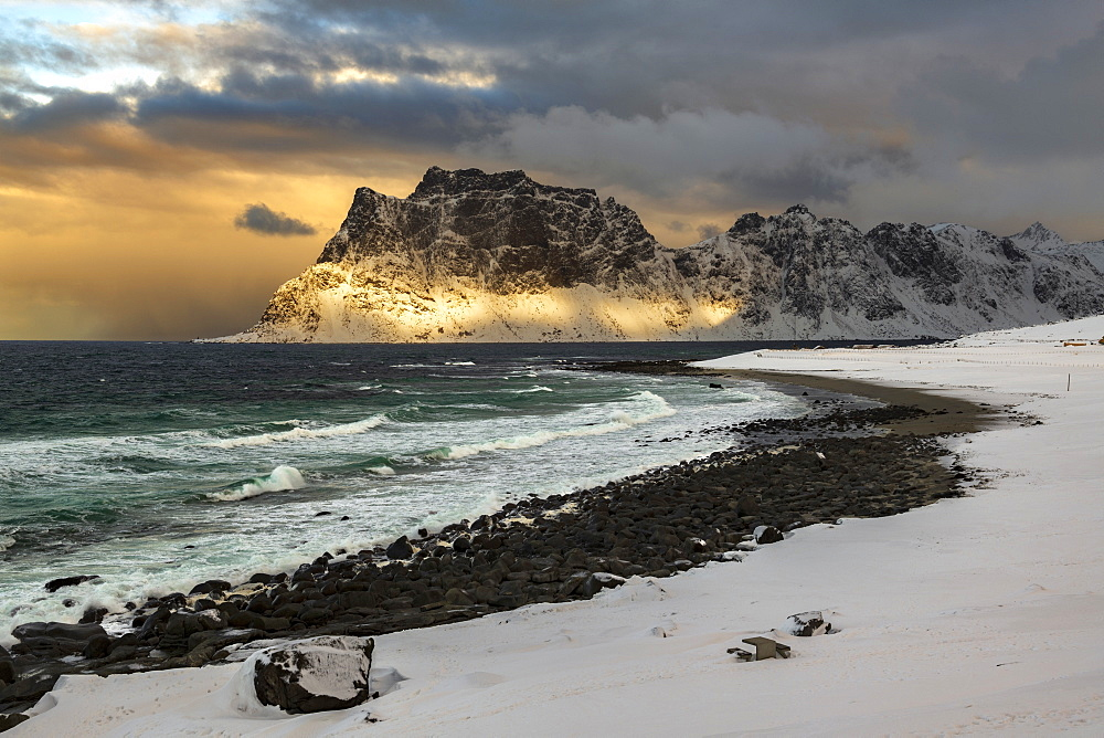 Storm clouds at Uttakleiv Beach, Vestvagoy, Lofoten Islands, Nordland, Norway, Europe