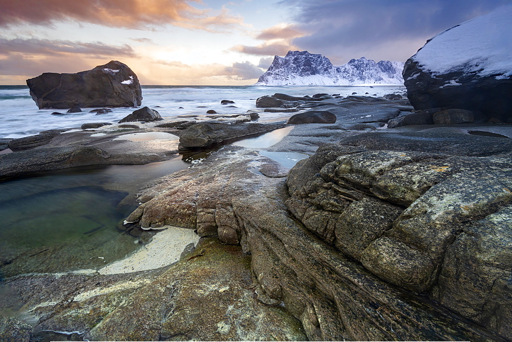 Winter scene at Haukland Beach, Lofoten, Nordland, Norway
