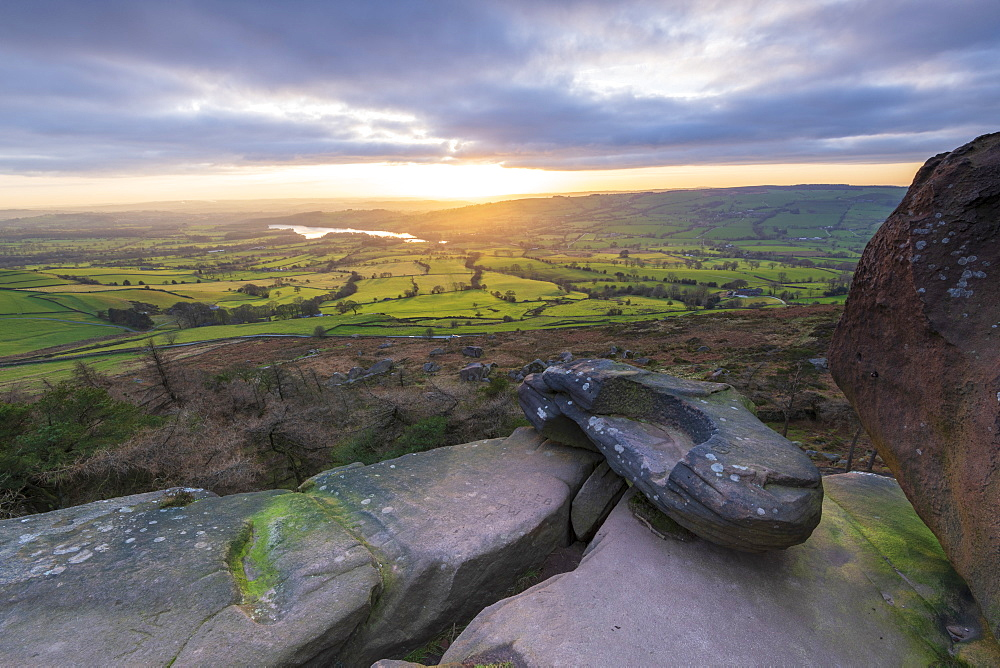 Sunset over Tittersworth Reservoir at The Roaches, Peak District National Park, Staffordshire, England, United Kingdom, Europe - 1306-486