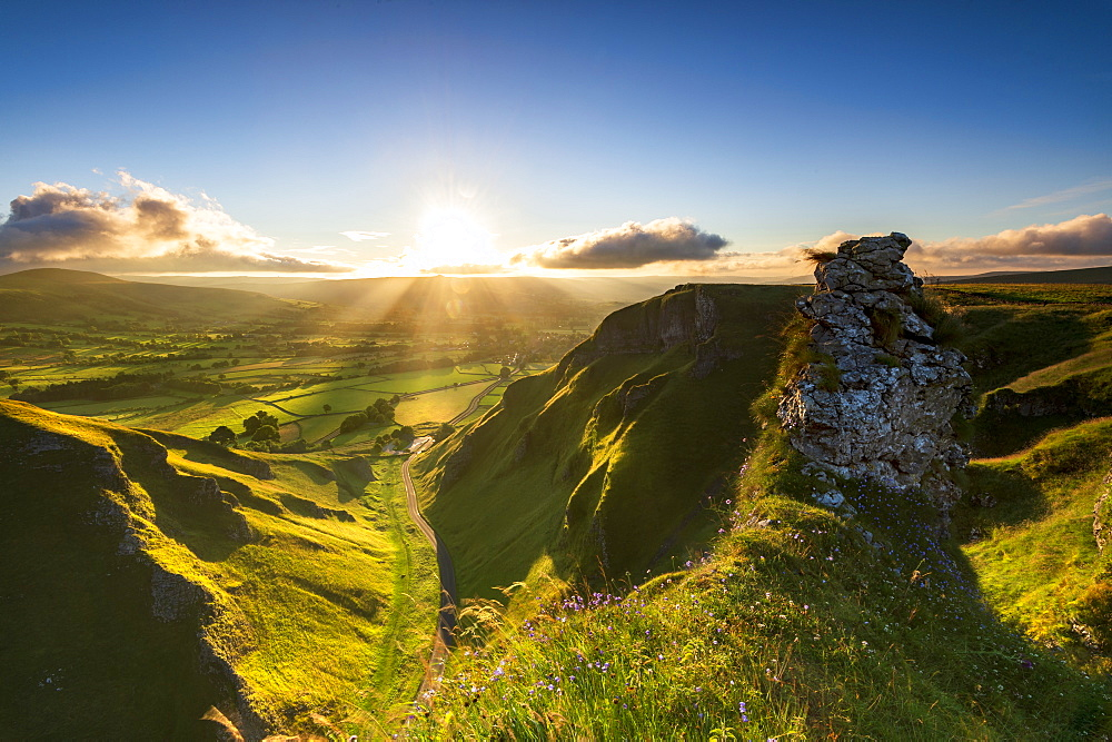 Intense sunrise over Edale Valley from Winnats Pass, Hope Valley, Peak District, Derbyshire, England, United Kingdom, Europe