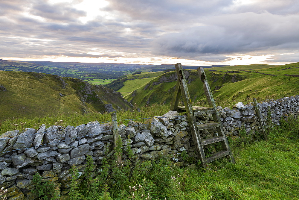 Elevated view of Winnats Pass, Winnats Pass, Hope Valley, Peak District, Derbyshire, England, United Kingdom, Europe