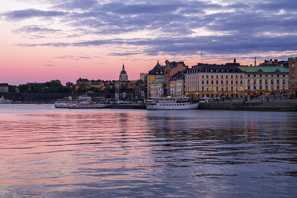 Stockholm during twilight blue hour, Stockholm, Sweden, Scandinavia, Europe