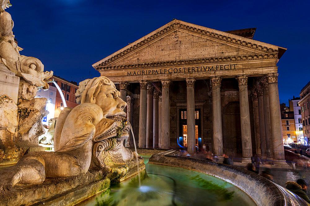 The Pantheon with fountain at night, UNESCO World Heritage Site, Piazza della Rotonda, Rome, Lazio, Italy, Europe - 1306-688