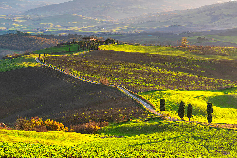 Rolling landscape with farm house, Tuscany, Italy, Europe