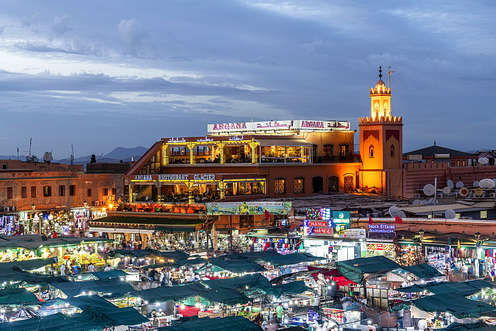 Argana Restaurant overlooking the medina, Marrakech, Morocco, North Africa, Africa