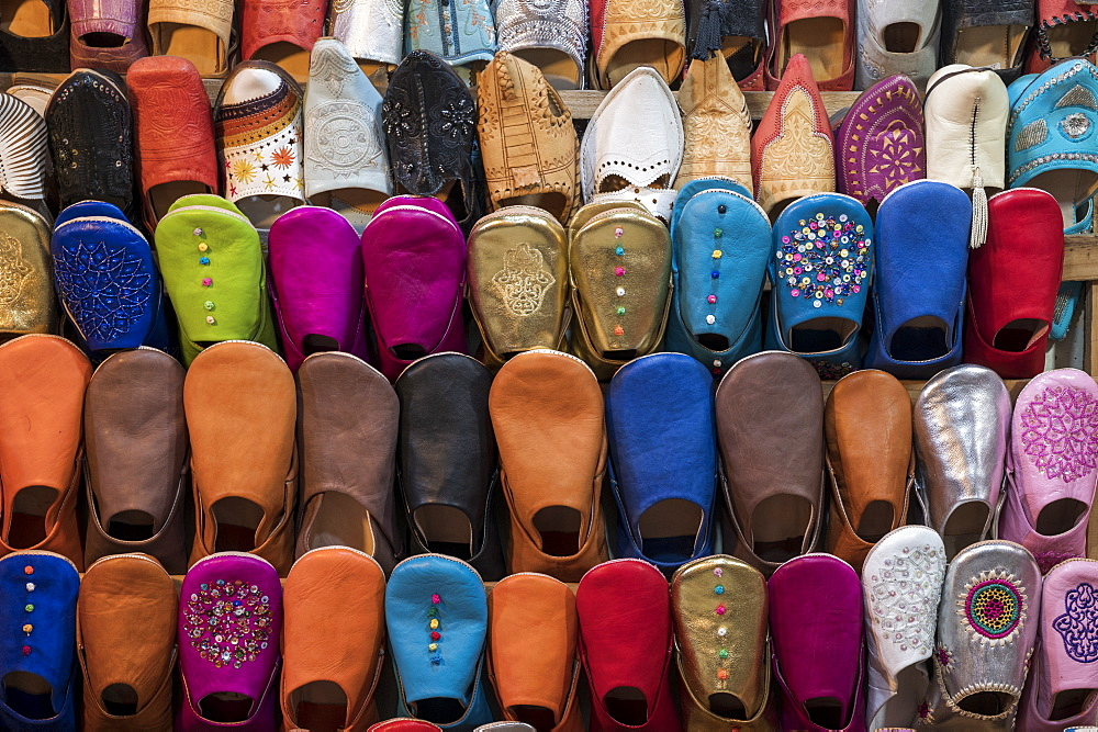 Colourful babouche slippers for sale in the Marrakech souks, Place Djemaa El Fna, Marrakech, Morocco, North Africa, Africa