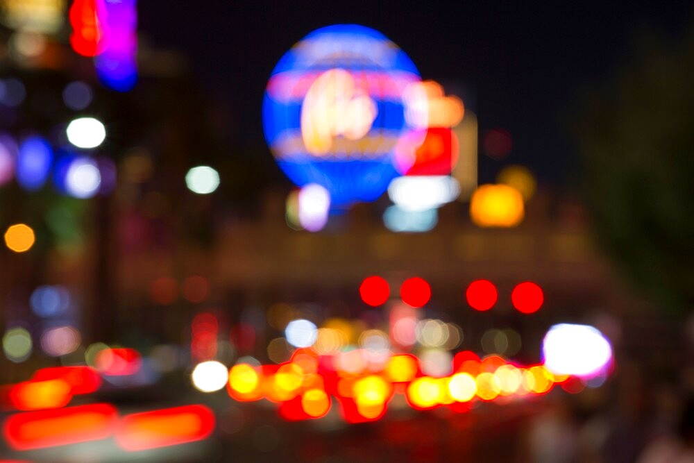 Defocused view along the Strip by night, colourful neon lights creating an abstract pattern, Las Vegas, Nevada, United States of America, North America