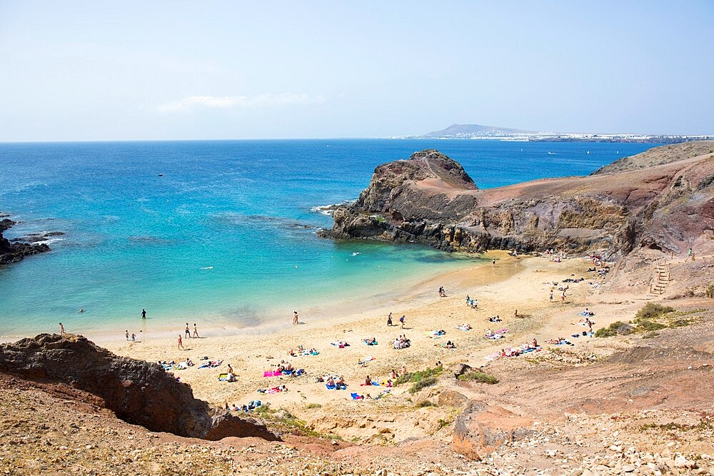 View over Playa del Papagayo from cliff top behind the beach, Playa Blanca, Yaiza, Lanzarote, Las Palmas Province, Canary Islands, Spain, Atlantic, Europe