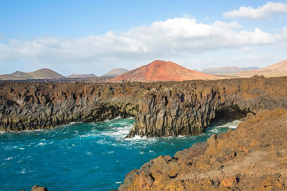 Los Hervideros, lava caves on the rugged Atlantic coast, El Golfo, Yaiza, Lanzarote, Las Palmas Province, Canary Islands, Spain, Atlantic, Europe - 1310-104