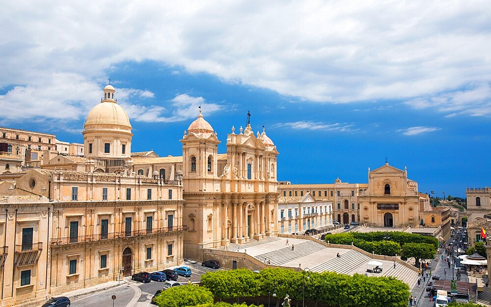 View to the Cathedral of San Nicolo from roof of the Church of San Carlo al Corso, Noto, UNESCO World Heritage Site, Syracuse (Siracusa), Sicily, Italy, Europe - 1310-116