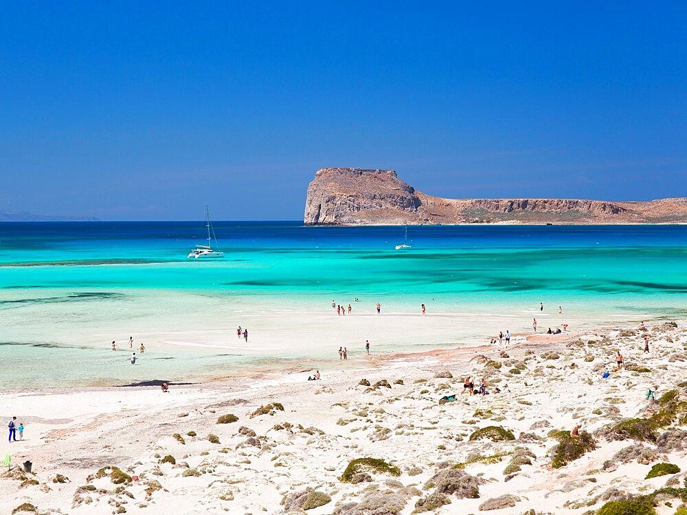 View over Balos Beach to Gramvousa Bay and the island of Imeri Gramvousa, near Kissamos, Hania, aka Chania, Crete, Greece