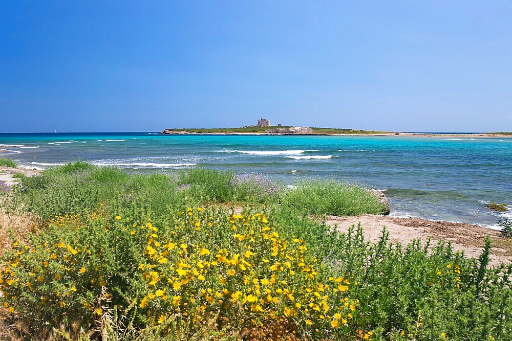 View across bay to the island fortress of Capo Passero, Portopalo di Capo Passero, Syracuse (Siracusa), Sicily, Italy, Europe
