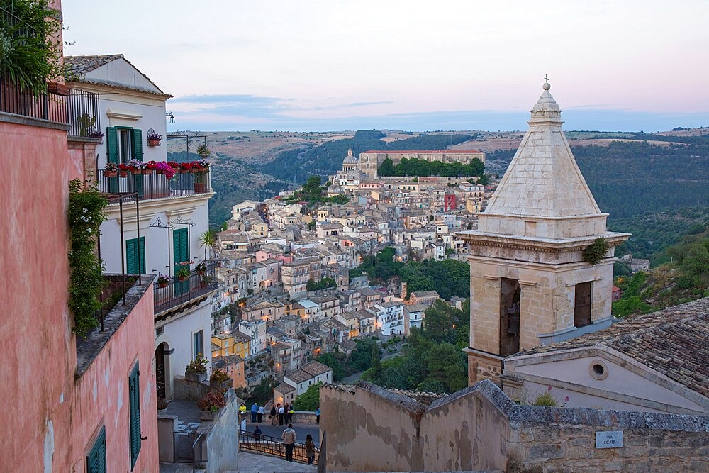 View over Ragusa Ibla, dusk, bell-tower of the Church of Santa Maria delle Scale in foreground, Ragusa, UNESCO World Heritage Site, Sicily, Italy, Europe - 1310-124