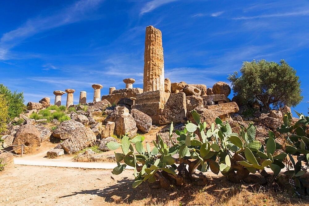 Low angle view of the Temple of Heracles, aka Hercules, in the UNESCO listed Valley of the Temples, Agrigento, Sicily, Italy