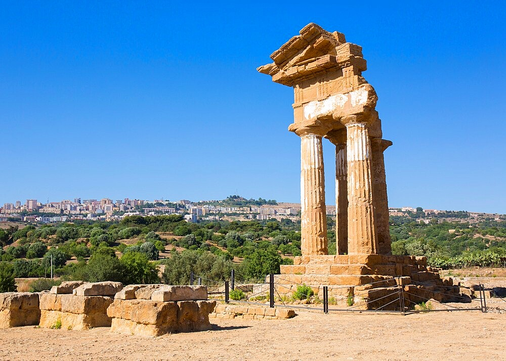 Reconstructed section of the Temple of Castor and Pollux in the UNESCO listed Valley of the Temples, Agrigento, Sicily, Italy - 1310-149