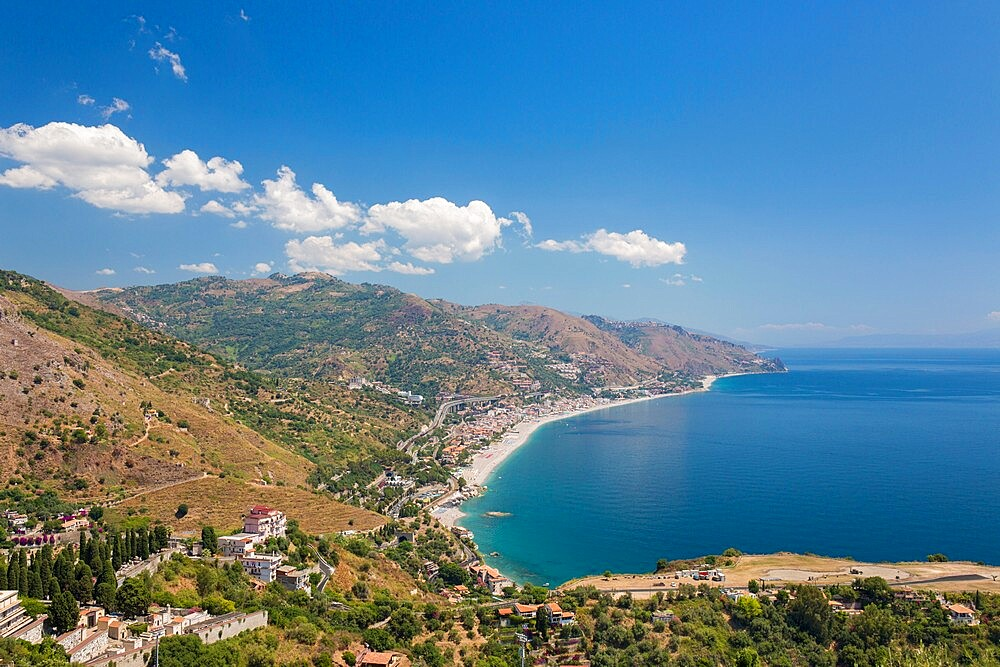 View from the Greek Theatre to the Ionian Sea beach resorts of Mazzeo and Letojanni, Taormina, Messina, Sicily, Italy - 1310-186
