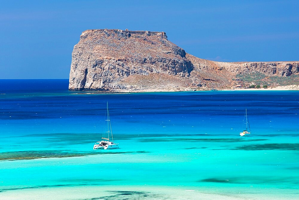 View over Gramvousa Bay to the island and fortress of Imeri Gramvousa, near Kissamos, Hania, aka Chania, Crete, Greece