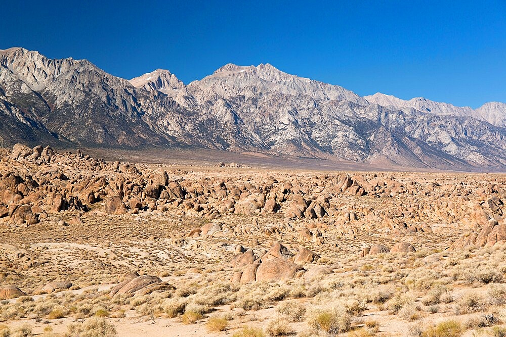 View across rocks to Mount Williamson and the Sierra Nevada, Alabama Hills National Scenic Area, Lone Pine, California, United States of America, North America - 1310-236