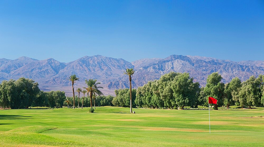 View to the Panamint Range from the world's lowest-lying golf course, Furnace Creek, Death Valley National Park, California, USA - 1310-243