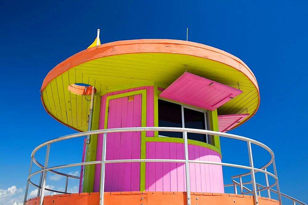 Colourful beach lifeguard station, low angle view, Art Deco Historic District, South Beach, Miami Beach, Florida, USA - 1310-267