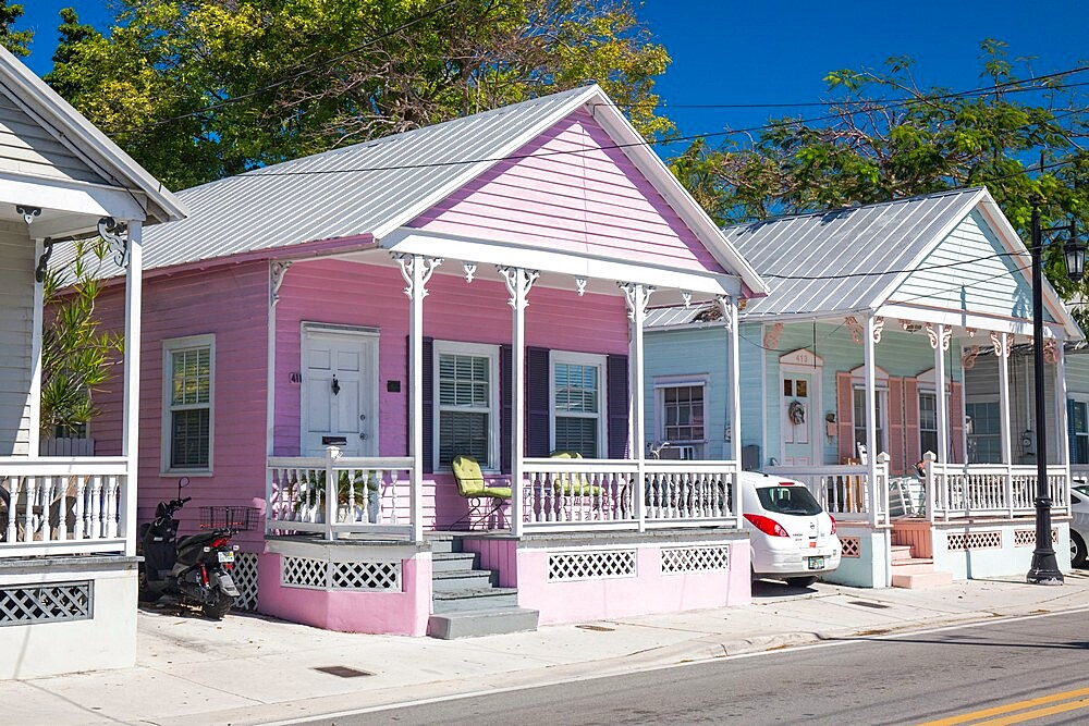 Typical pastel-coloured wooden houses on Truman Avenue, Old Town, Key West, Florida Keys, Florida, USA - 1310-281