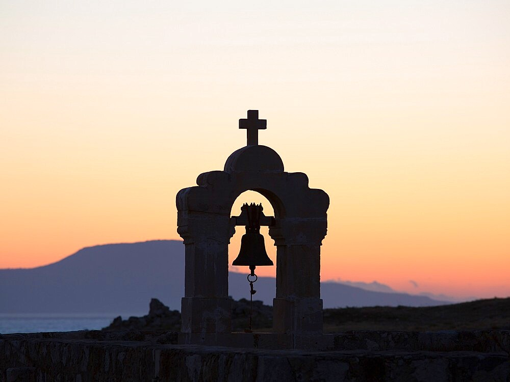 Silhouette of church bell-tower within the Fortezza, sunset, Rethymno (Rethymnon), Crete, Greek Islands, Greece, Europe