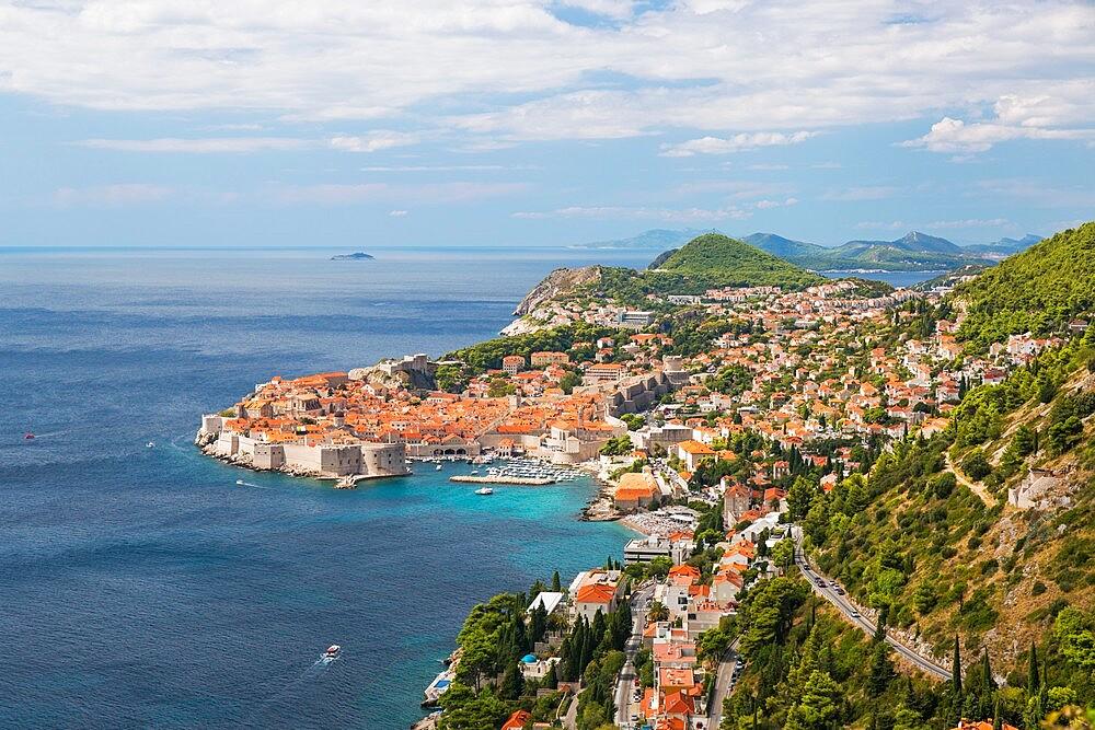 View over the Old Town, Stari Grad, from hillside above the Adriatic Sea, Dubrovnik, Dubrovnik-Neretva, Dalmatia, Croatia - 1310-49