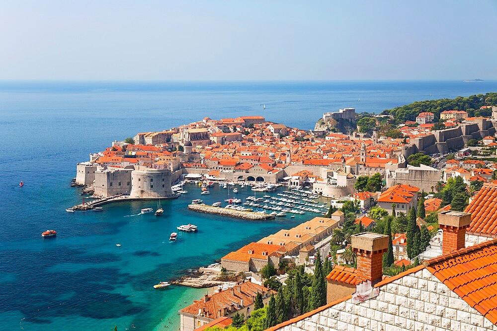 View over the Old Town, Stari Grad, from hillside above the Adriatic Sea, Dubrovnik, Dubrovnik-Neretva, Dalmatia, Croatia - 1310-52