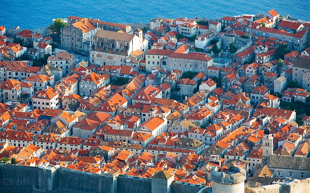View over the tiled rooftops of the Old Town, Stari Grad, from Mount Srd, Dubrovnik, Dubrovnik-Neretva, Dalmatia, Croatia