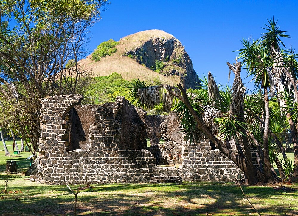 Historic military ruins below Signal Peak, Pigeon Island National Landmark, Gros Islet, St. Lucia, Windward Islands, Lesser Antilles, West Indies, Caribbean, Central America