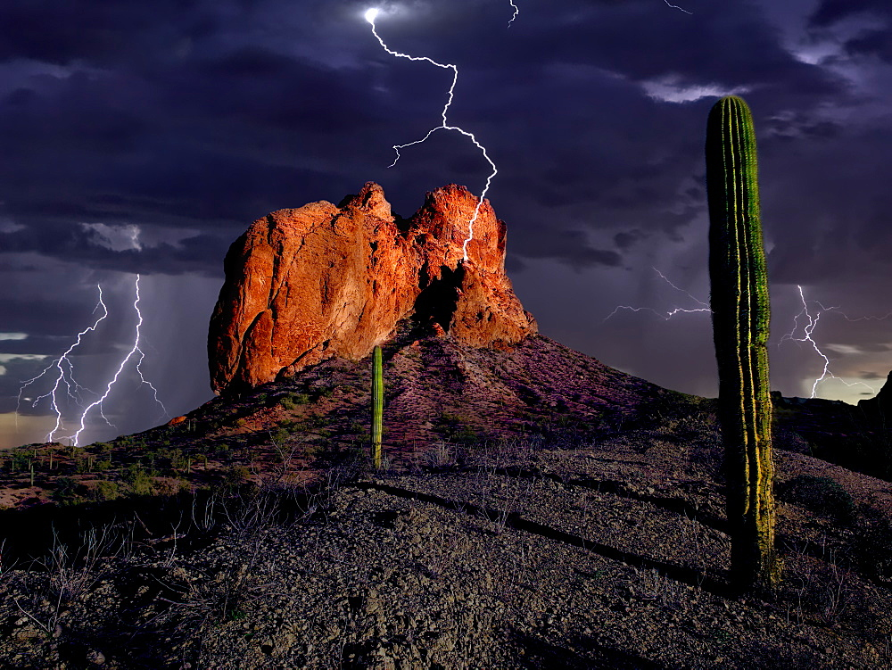 An HDR composite of lightning striking Courthouse Rock in the Eagletail Wilderness of western Arizona, United States of America, North America