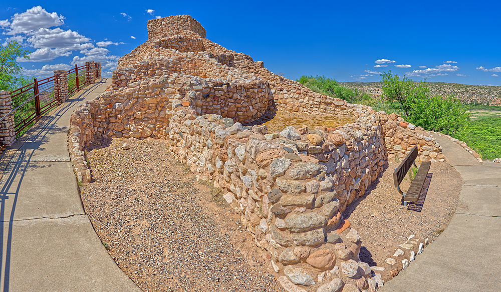 Panorama view of Tuzigoot Ruins from southeast corner, managed by the National Park Service, Arizona, United States of America, North America - 1311-115