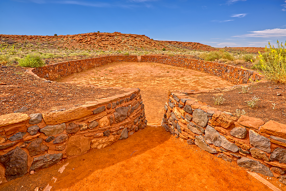 The Ball Court of the Wupatki Pueblo Ruins at the Wupatki National Monument in Arizona.