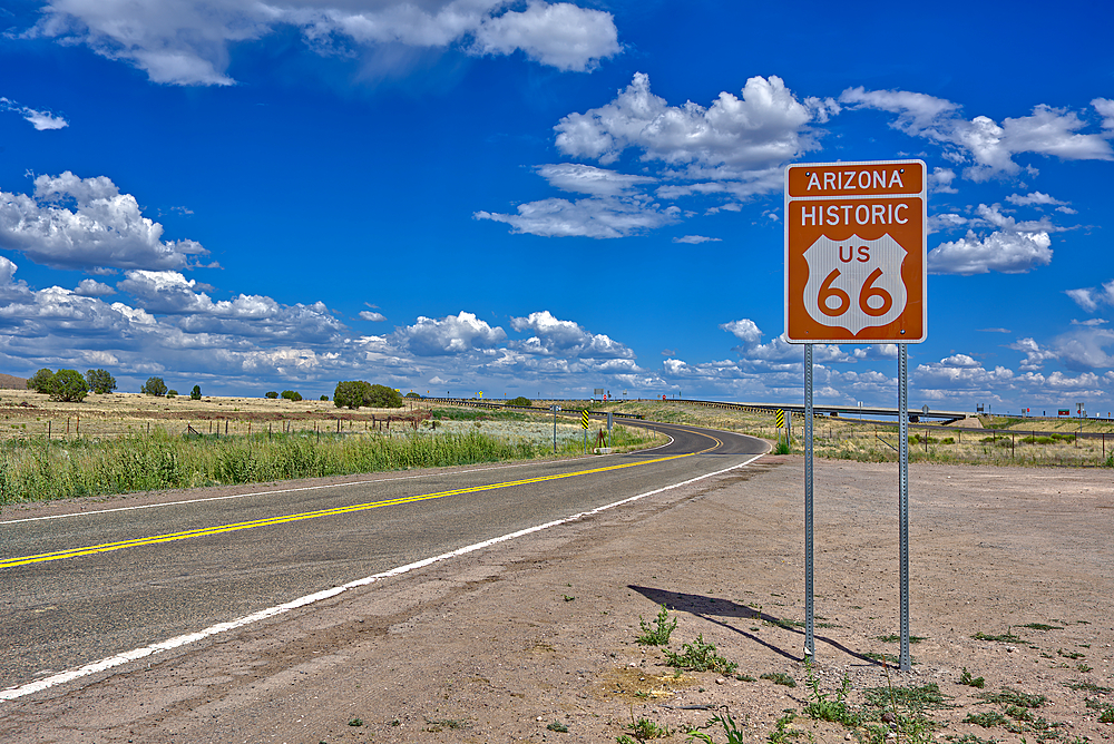 A road sign marking the Historic Route 66 just west of Ash Fork Arizona.