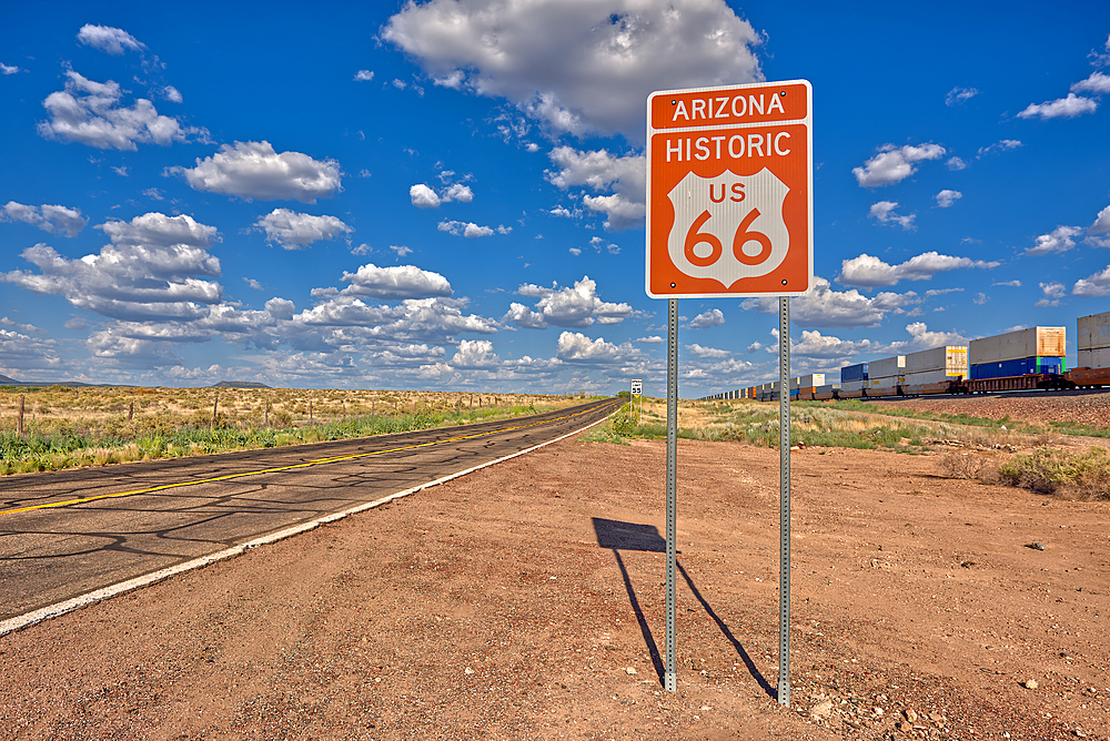Road sign marking Historic Route 66 just east of Seligman, the birthplace of the famous road, Arizona, United States of America, North America - 1311-135