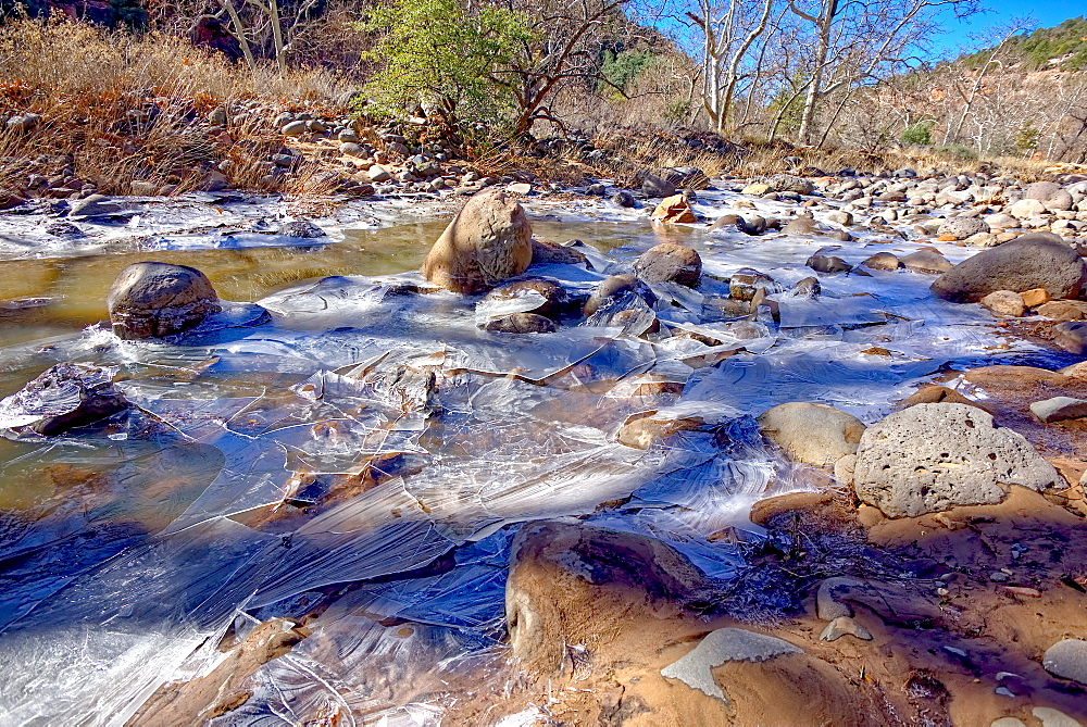 Frozen Creek, Oak Creek in Sedona frozen from winter cold in February 2019, Arizona, United States of America, North America