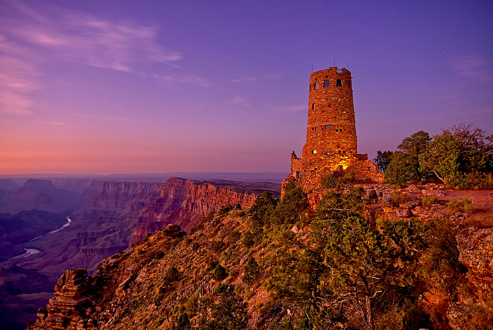 Watch Tower on Grand Canyon South Rim at twilight, Grand Canyon National Park, UNESCO World Heritage Site, Arizona, United States of America, North America - 1311-160