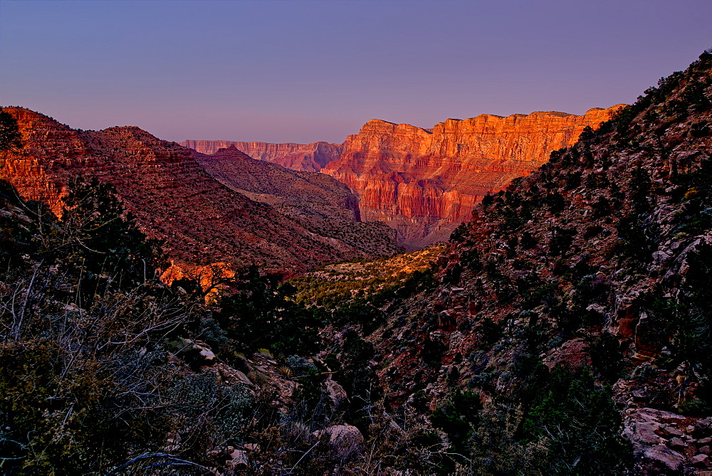 Grand Canyon view from the Tanner Trail with only the twilight glow as the light source, Grand Canyon National Park, UNESCO World Heritage Site, Arizona, United States of America, North America
