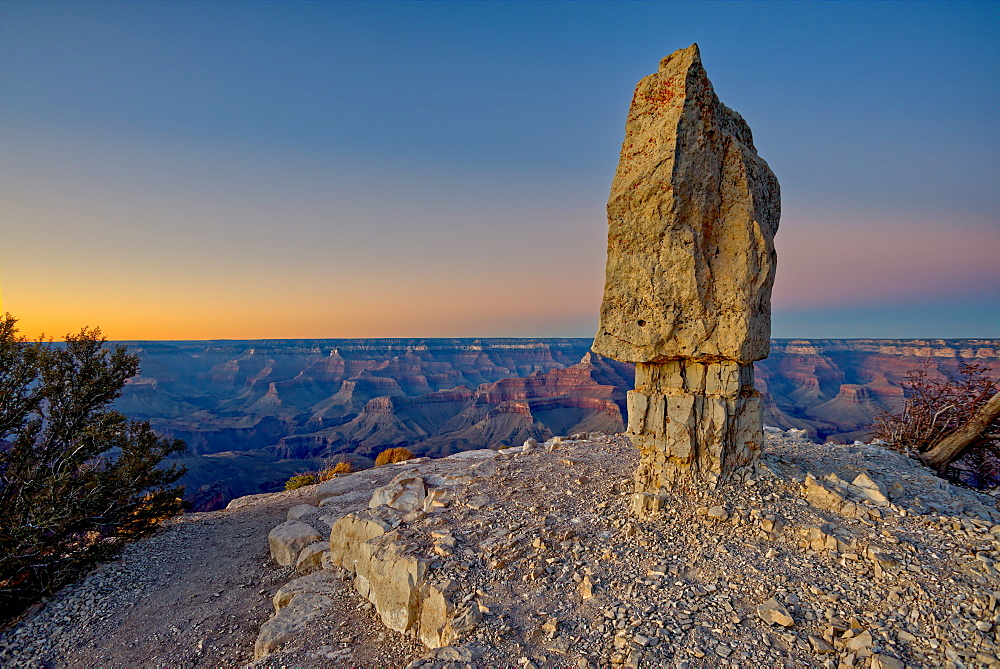 Shoshone Rock at Shoshone Point on the south rim of the Grand Canyon facing north at twilight, Grand Canyon National Park, UNESCO World Heritage Site, Arizona, United States of America, North America