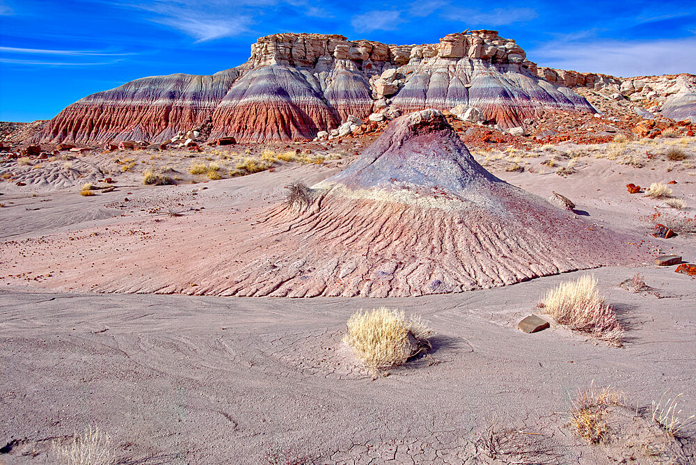 Mounds and cliffs of expansive clay called Bentonite in the Jasper Forest of Petrified Forest National Park, Arizona, United States of America, North America - 1311-200