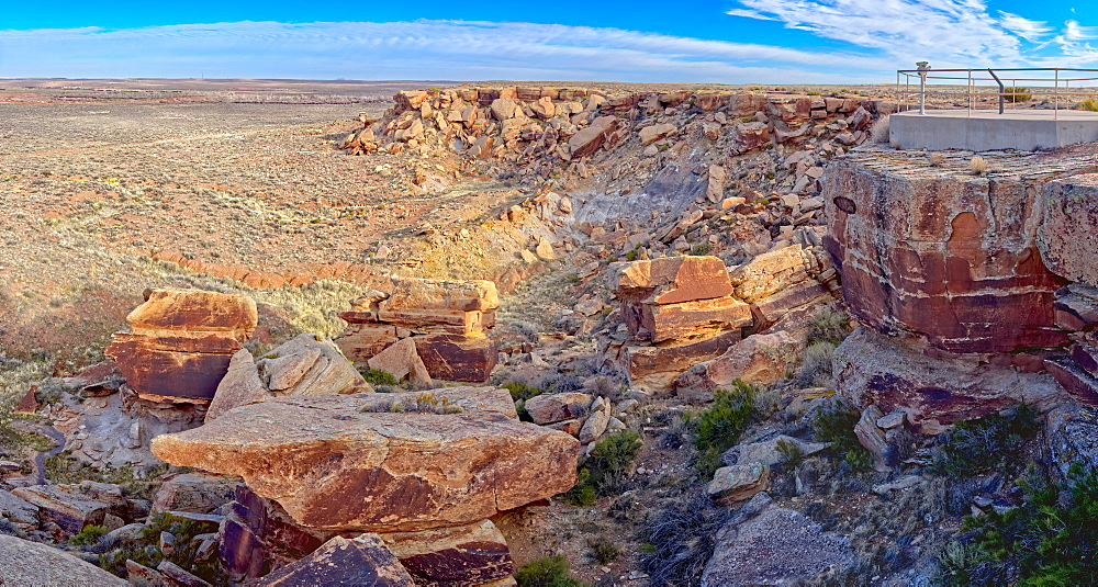 A rocky pile in Petrified Forest National Park called Newspaper Rock, where some rocks have petroglyphs, Arizona, United States of America, North America