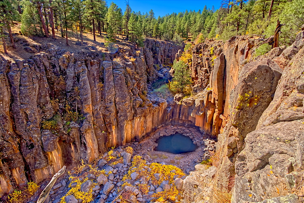 Cliffs of Sycamore Falls with dry inactive waterfalls, Kaibab National Forest near Williams, Arizona, United States of America, North America - 1311-258