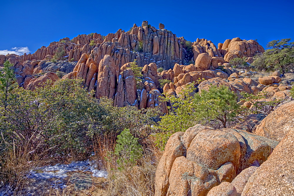 A large wall of fractured Granite along a trail in Constellation Park in Prescott called The Lost Wall, Arizona, United States of America, North America