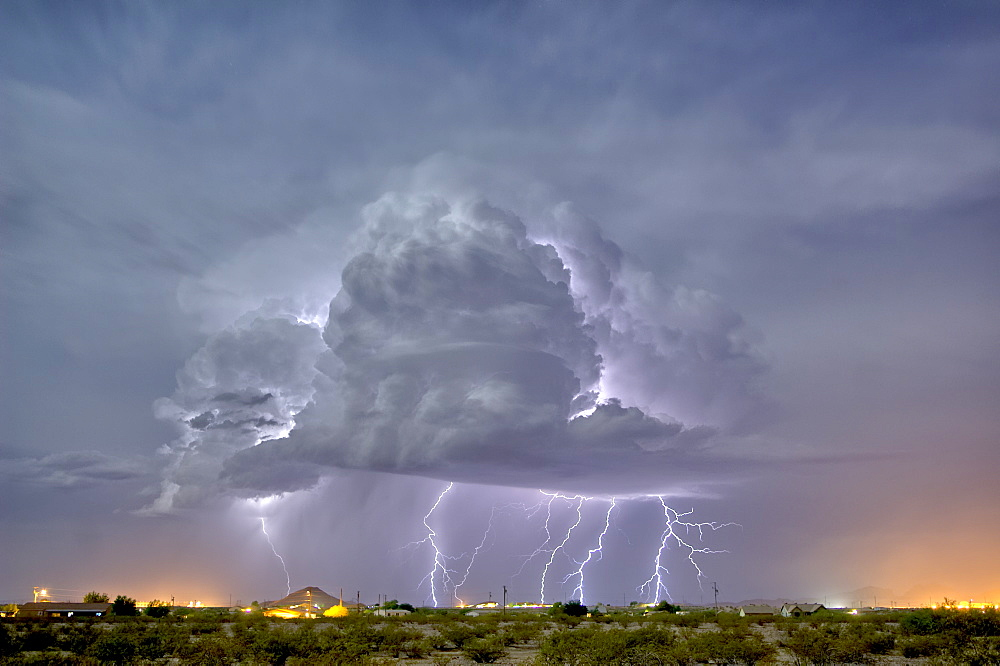 An isolated storm cell illuminated by moonlight during the 2015 Monsoon season, Arizona, United States of America, North America