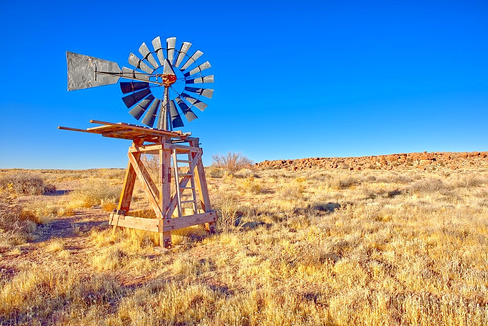 An old windmill marking the boundary of the Devil's Playground in Petrified Forest National Park, Arizona, United States of America, North America - 1311-287